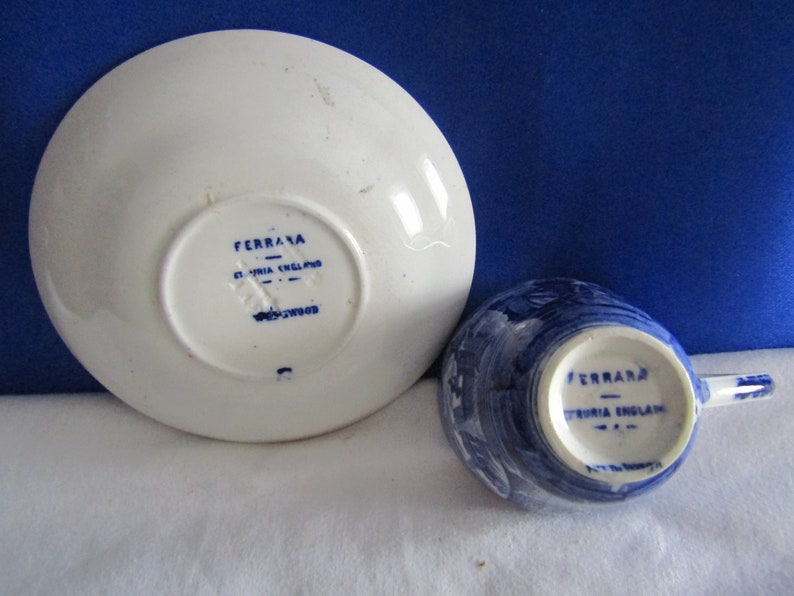 Vintage Wedgwood Blue and White Cup /& Saucer Ferrara St Ruria Made in England
