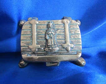 Victorian Brass Stamp / Pill Box, Welsh Lady Design