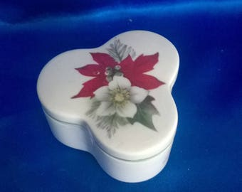 "Vintage Palisey Trinket Pot ""Patite Collection"" Poinsettia Flower"