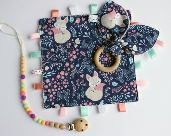 New baby girl gift, Baby girl lovey, taggie blanket, Silicone pacifier clip girl, Bunny teether, Silicone teether clip, Minky lovey