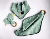 Gender neutral baby gift set, Baby muslin lovey blanket, Teething blanket, Pom Pom baby bib, Bunny ear teether, Pacifier clip, Newborn gift