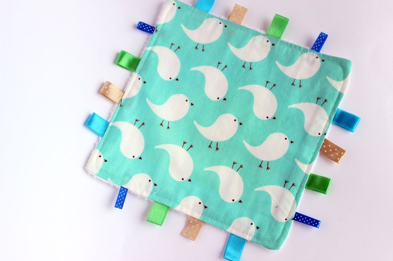 Sweet Bird Baby Taggie Tag Blanket Comforter Lovey Unisex Gift Ribbon Teething