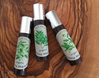 Organic Brown Henna Mascara, Brown Mascara, Vegan, Non-waterproof, Oxide and Mica Free, Gluten- Free, Trial Size, Ayurvedic Formula