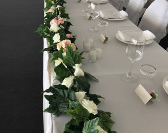 Table Flower Garland With Peonies And Roses! 6 Metres Long