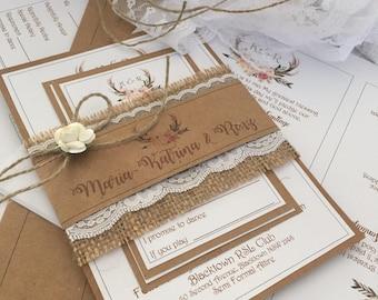 DIY Rustic wedding invitation pack x50