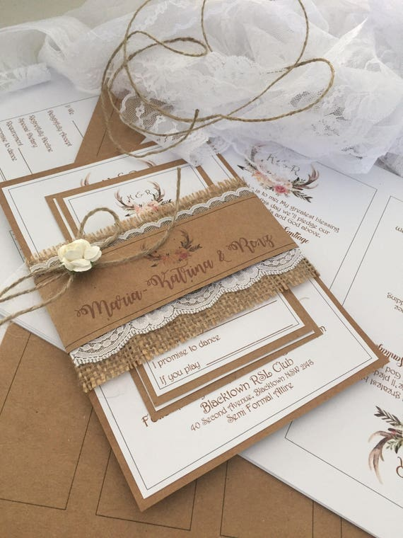 Diy Rustic Wedding Invitation Pack X30