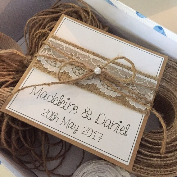 Diy Rustic Wedding Invitation Pack X50