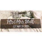 Mr. and Mrs. personalized established sign - custom decor - custom wedding gift