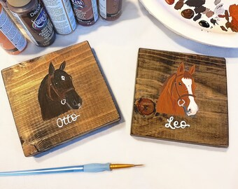 Hand painted horse coasters