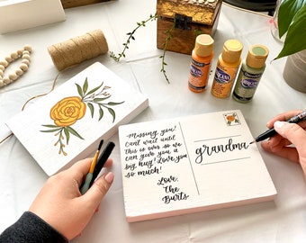 Wood Postcards - hand painted and hand lettered