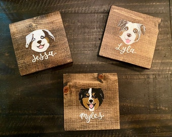 Hand painted dog and cat coasters