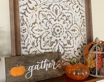 Gather wood sign with pumpkin - fall decor