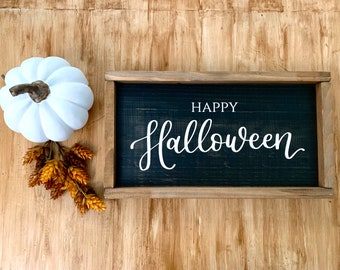 Happy Halloween Wood Framed Sign - Halloween Home Decor