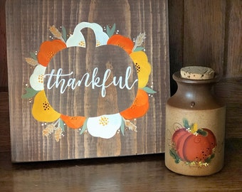 Thankful fall florals wood sign