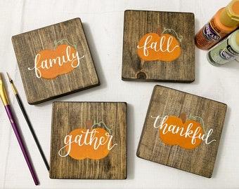 Fall chunky wood coasters / pumpkin coasters / thanksgiving coasters