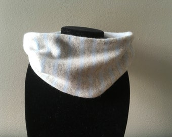 Upcycled cashmere cowl. Pale blue and grey striped cashmere neck warmer. #14 Reversible baby blue and grey striped cashmere cowl.