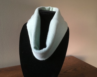Upcycled cashmere cowl. Pale blue-green and yellow felted cashmere neck warmer. #5