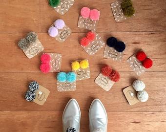 Pom pom shoe clips- colourful and unique shoe accessory