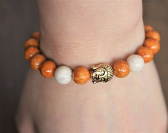 Bracelet fossil stone beads, buddha charm