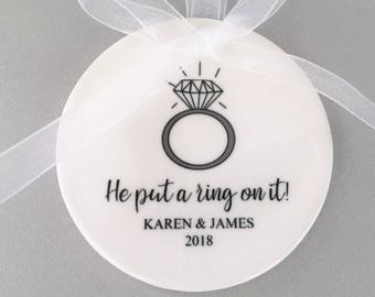 Personalized Engagement Ornament, Ring Ornament, Engagement Ornament, Engagement Ornaments, Engagement Gift, Just Engaged