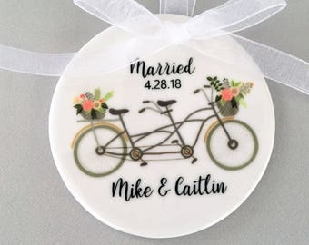 Wedding Ornament, Wedding Ornaments, Bicycle Ornament, Newlywed Gift, Wedding Gift, Couple's Gift, Customized Ornament, Newlywed Gift, Bride