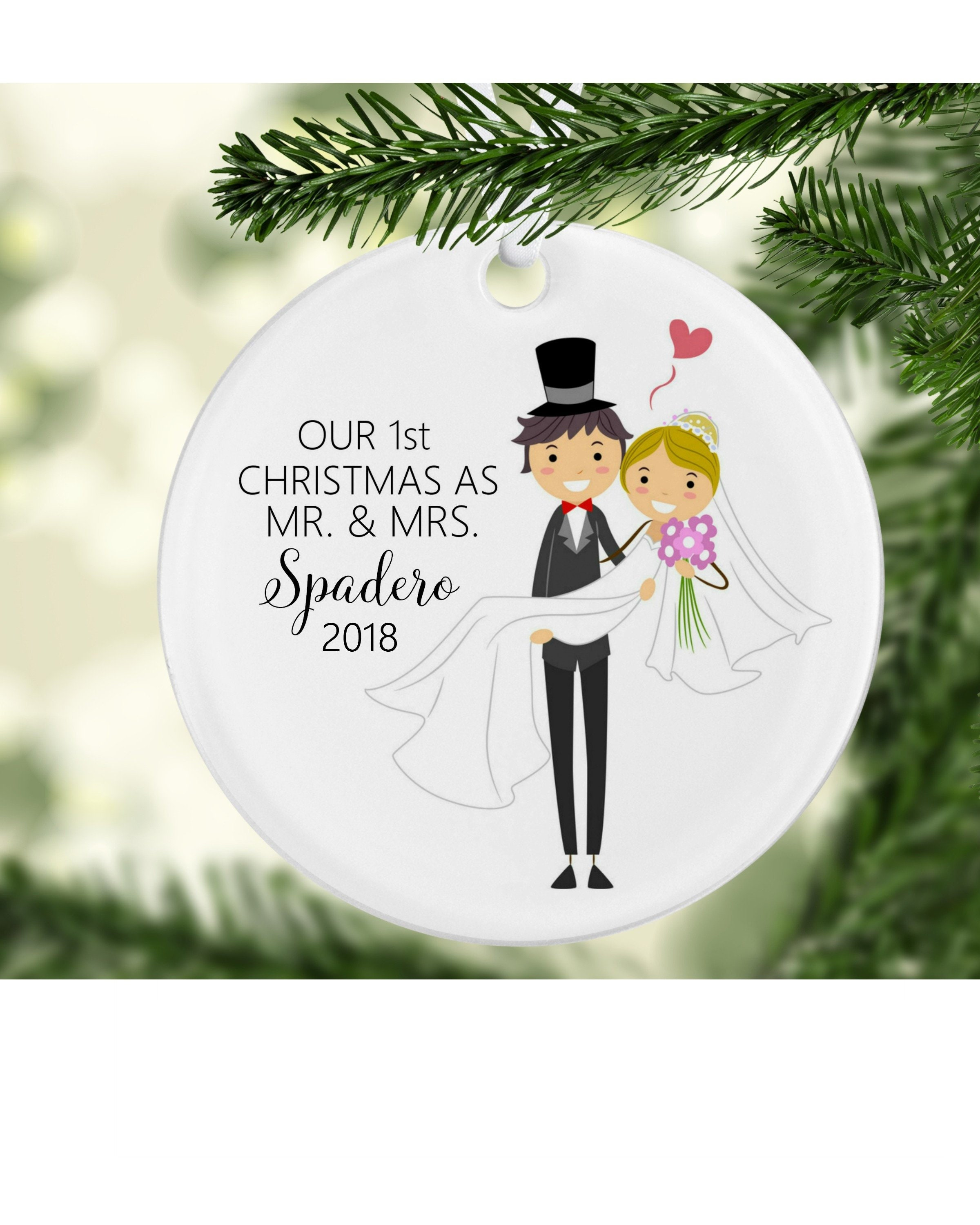 Our First Christmas Ornament Bride Groom Stick Figures Our Etsy