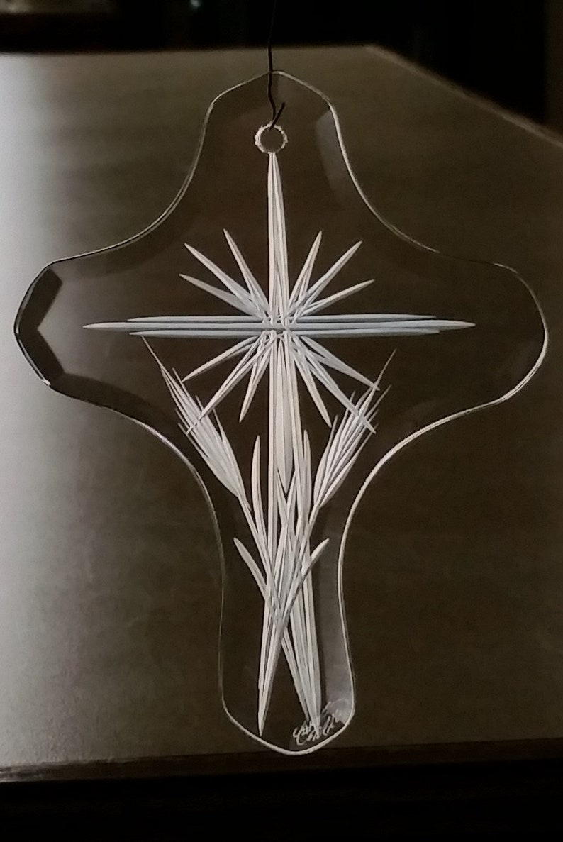 Cross Suncatcher Christmas Ornament Cross Decor Glass Cross Glass Ornament Engraved Ornament Religious Gift Cross Ornament