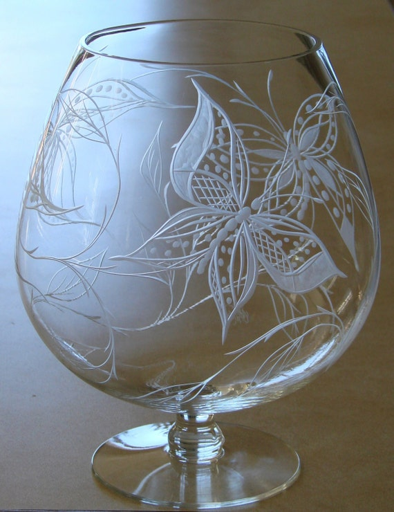 Butterflies Brandy Hand Engraved Large Brandy Centerpiece Etsy