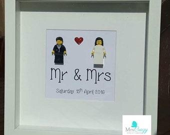 Mr & Mr Lego Minifigure in frame