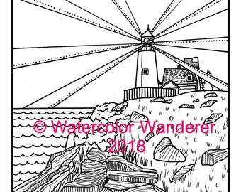 Pemaquid Point Lighthouse Coloring Page - Maine Lighthouse Coloring - Digital PDF Instant Download - Night Lighthouse - Made in Maine