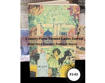 Country/Farm Theme Ladies Parchment Paper Journal. Travelers Notebook Insert. 80 Pages. Choose from 10 Travelers Notebook Sizes.