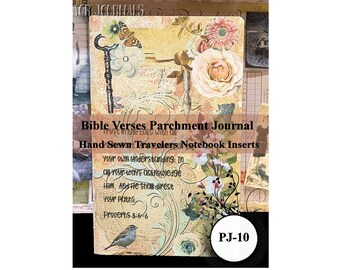 Bible Verses Parchment Paper Journal. Travelers Notebook Insert. 80 Pages. Choose from 10 Travelers Notebook Sizes.