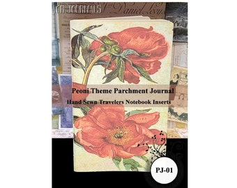 Peoni Theme Parchment Journal. Travelers Notebook Insert Parchment Journal: Choose from 10 Travelers Notebook Sizes.