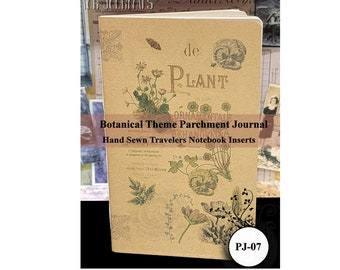 Botanical Theme Parchment Paper Journal. Travelers Notebook Insert. 80 Pages. Choose from 10 Travelers Notebook Sizes.