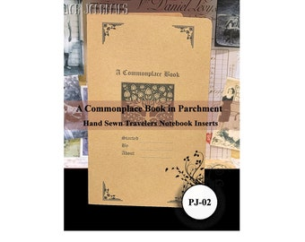 Commonplace Book, Travelers Notebook Insert Parchment Journal:  10 TN Size. With Numbered Pages and Index