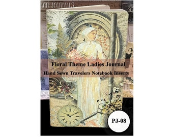 Floral Theme Ladies Parchment Paper Journal. Travelers Notebook Insert. 80 Pages. Choose from 10 Travelers Notebook Sizes.
