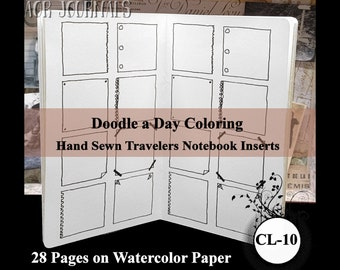 Doodle a Day Coloring Book. Traveler's Notebook Hand Sewn Insert: Many Insert Cover Choices. 10 Sizes. Printed on Watercolor Paper