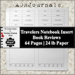 Book Review Travelers Notebook Insert, Room for 64 Book Review Notebooks, Book Review Journal Available in 40 cover colors & 11 TN Sizes