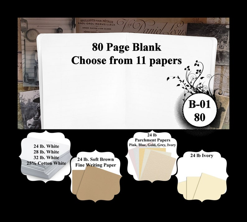 80 Page Blank in Your Choice of 11 Different Papers. image 0