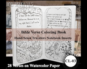 Bible Versed Coloring Book. Traveler's Notebook Hand Sewn Insert: Many Insert Cover Choices. 10 Sizes. Printed on Watercolor Paper