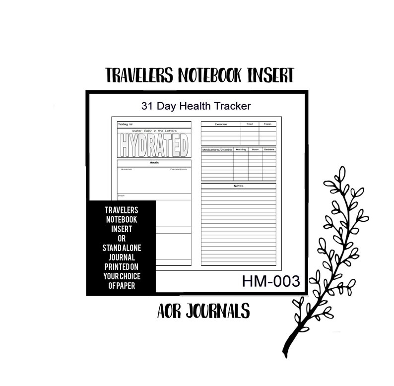 31 Day Health Wellness Tracker & Journal. Travelers Notebook image 0