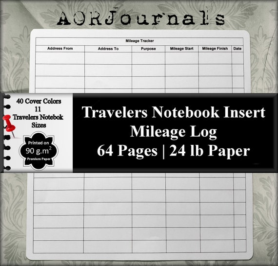 travelers notebook insert mileage record mileage log mileage etsy