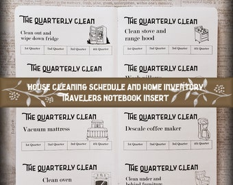 Travelers Notebook Insert: House Cleaning Schedule and Home Inventory. 40 cover color choices & 11 Traveler's Notebook Sizes