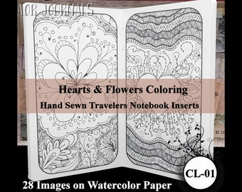 Hearts & Flowers Coloring Book. Traveler's Notebook Hand Sewn Insert: Many Insert Cover Choices. 10 Sizes. Printed on Watercolor Paper