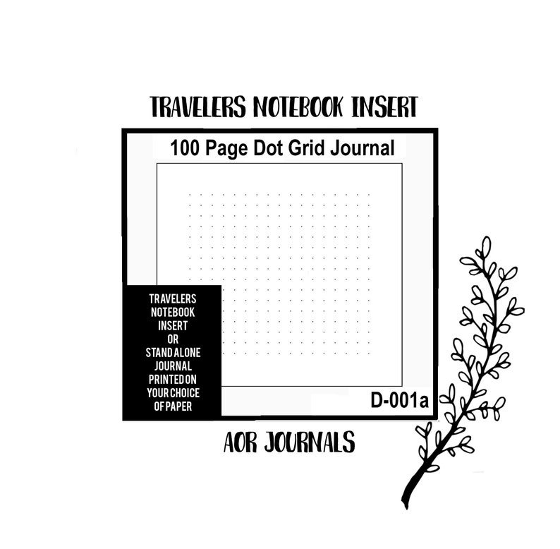 100 Page Dot/Grid Paper. Traveler's Notebook Hand Sewn image 0