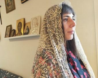BIg Triangular lace veil to attend Holy Catholic Mass, chapel veil