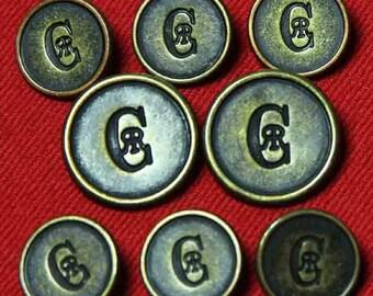 Two Men/'s  Vintage Nino Cerruti Blazer Buttons Antique Gold Bronze Shank CR Monogram 1970s