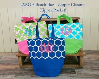 Large Monogrammed Beach Bag - Personalized Bag - Bridesmaid Gift - Beach Bag - Teacher Gift - Pool Bag - Overnight Bag