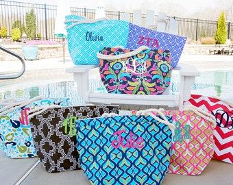 Monogrammed Beach Bag - Personalized Beach Bag - Teacher Gift - Bridesmaid Gift - Pool Bag -Overnight Bag