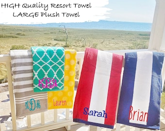 Custom Striped Beach Towel, Monogrammed Gift, Graduation Gift, Embroidered Towel, Bachelorette Party